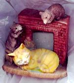 Cat & Mice by The Fireplace Figurine